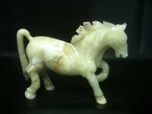 "MARBLE ONYX CHAMPAGNE COLOUR HORSE SCULPTURE MANTELPIECE 11"" X 16"" GIFT ITEM"