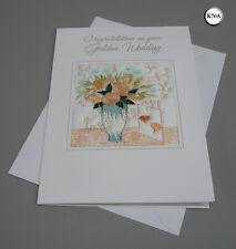 50 Years Embroidered Ekard Golden Wedding Anniversary Card Handmade in UK K70A