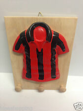 appendino legno maglia rosso nera calcio ceramica fatto a mano parete squadra