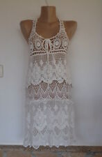 Italy 2tlg Mini Häkel Kleid Boho Hippie Ibiza Coachella Style Off White EG 36-40