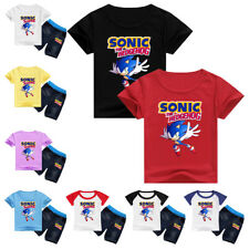 Boys Anime Sonic the Hedgehog Round Neck Short Sleeve T-shirt Pants Outfits Sets