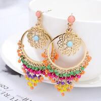 Women Earrings Beads Dangle Tassel Bohemian Fashion Earring Ear Stud Jewelry