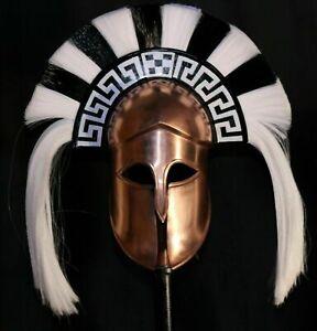 Medieval Greek Corinthian Helmet With Black & White Plume Free Leather Liner