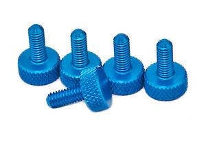 PrecisionGeek -Blue M4 x 10mm Flat Knurled Thumb Screws (Set of 5)