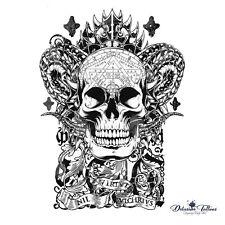 3d6220c5cb35d Devil Skull Temporary Tattoo Transfer - Black Realistic Waterproof Mens  Womens