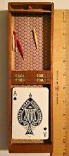 Vintage 1950s Maple box 3 Track Cribbage Board Set -- 1240