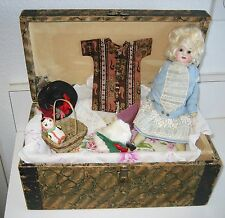 """9"""" German bisque antique Glass eye doll with trunk trousseau"""