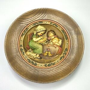 Vintage ANRI 1972 Carved Wood & Hand Painted Mother's Day Plate- Lim.Ed. #2150
