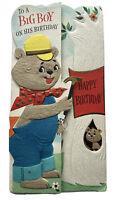 Vtg Hallmark Slim Jims Heavily Embossed Anthropomorphic Bear Birthday Card Boy