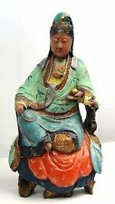 ANTIQUE 19c CHINESE POLYCHROME WOOD CARVED PAINTED A SEATED QUAN-YIN STATUE 12""