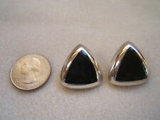 Vintage Mexico 925 Sterling Silver Triangular Black Inlay  Earrings