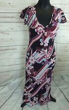 Warp & Weft Womens Dress Retro Floral Pattern Long Purple Navy Pink UK 12