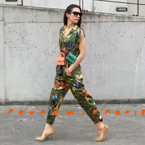 New With Tags Zara Black Green Printed Jumpsuit Playsuit AW2020 Bloggers Fav L