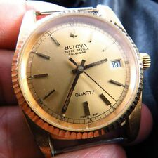 VINTAGE BULOVA SUPER SEVILLE CALENDAR QUARTZ MEN WATCH