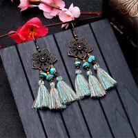 Women Bohemian Vintage Flowers Earrings Long Tassel Fringe Drop Dangle Earrings