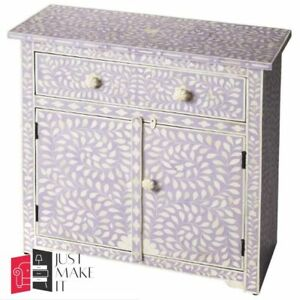 Bone Inlay Chest sideboard White Floral (MADE TO ORDER)