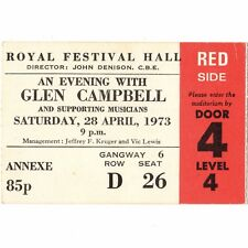 GLEN CAMPBELL Concert Ticket Stub LONDON ENGLAND 4/28/73 UK ROYAL FESTIVAL HALL