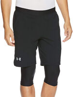 Under Armour Launch 2 in 1 Mens Running Shorts Black Long Compression Short Gym