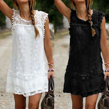 UK 8-22 Womens Summer Lace Floral Tops T-shirt Party Evening Ladies Mini Dress