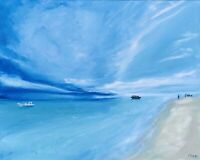 California Seascape Painting Boat Original Art Canvas 16 by 20In By Chernetsova