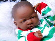 African American Reborn Baby Boy Doll Full Vinyl Silicone Baby Preemie Life like