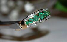14k Yellow Gold Natural Emerald & Diamonds Ring Sz8 NEW