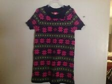 JKaki  Girls SZ S Sweater Dress Navy and Pink Snowflakes