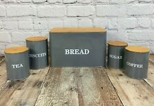 Kitchen Storage Set in French Grey (Bread, Tea, Coffee, Biscuits, Sugar)