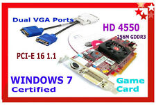 WINDOWS 7 FAST Video GAME Card. DUAL MONITOR PCI-E x16 SFF +2x VGA ADAPTER