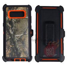 For Samsung Galaxy Note 8 Orange/Tree Camo Defender Case w/ Tempered Glass