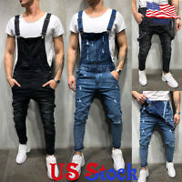 Fashion Men's Slim Fit Denim Overalls Suspender Trousers Bib Pants Skinny Jeans