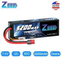 Zeee 80C 2S 5200mAh 7.4V Lipo Battery Hardcase Deans Plug for RC Car Truck Boat