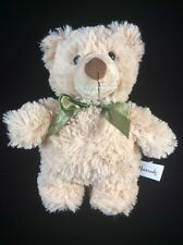 "Harrods Beige Tan Green Bow Teddy Bear Plush Soft Toy Stuffed 9"" Animal"