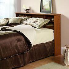Wood Bookcase Headboard Full Queen Size Bed Bedroom Shelves Furniture Bookshelf