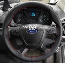 FOR FORD TRANSIT CUSTOM 13+ BLACK LEATHER STEERING WHEEL COVER DARK RED STITCH