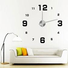 DIY Large Wall Clock 3D Sticker Metal Big Watch Home Decor Creative Gift