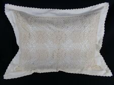 One Cream Cotton CROCHET STANDARD PILLOW SHAM Floral French Country Shabby Chic