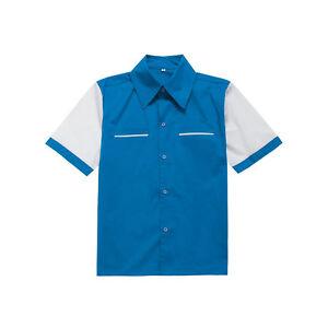 Mens Rockabilly Bowling Shirt Vintage Retro Design Casual Cotton Top Club Wear