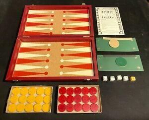 Vintage Backgammon with Bakelite Swirl Marbled Checkers Butterscotch & Red Chips