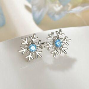 925 Silver Christmas Snowflake Crystal Dangle Earrings Women Jewelry Xmas Gifts