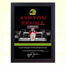 POSTER Ayrton Senna SIGNED AUTOGRAFATO FORMULA 1 MCLAREN HONDA incorniciato
