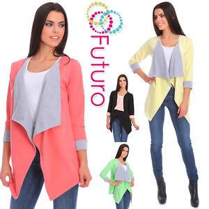 Womens Waterfall Asymmetric Blazer Jacket Coat Bolero Shrug Cape Size 8-12 2354