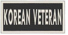 KOREAN VETERAN Embroidered Iron-On Patch  Biker ARMY Emblem White Border
