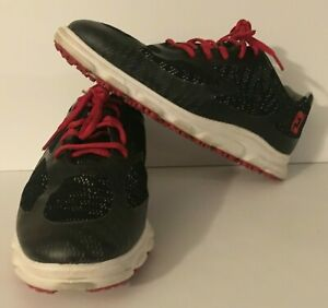 Men's FootJoy FJ SuperLites XP Spikeless Golf Shoes Black White w/Red Laces 7.5