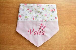 Halstuch mit Namen rosa Blümchen Kuschelfleece Baumwolle 1-4 Jahre