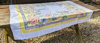 "Vintage Mid Century Colorful Floral Print Tablecloth Flowers 43 x 52"" Stains"