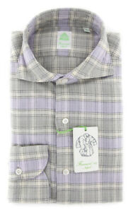 New $375 Finamore Napoli Cream Window Shirt - Extra Slim - (F112181)