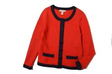 Banana Republic Red Navy trimmed cardigan knitted jacket Sz L $90 NWT