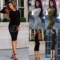 Sexy Women Bodycon Long Sleeve Casual Ladies Party Evening Cocktail Pencil Dress