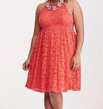 Torrid Lace High Neck skater Dress Red 1X 14 1 #87933